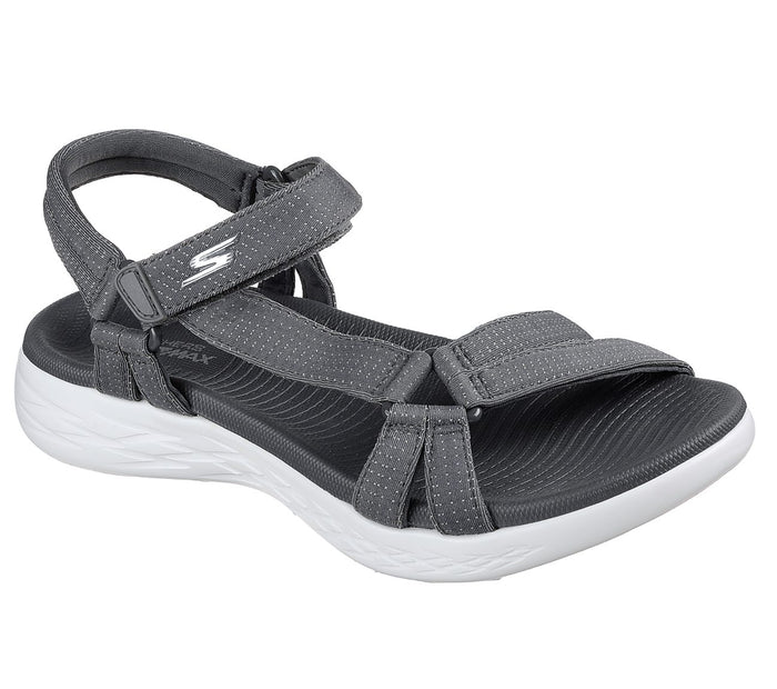 Skechers 15316 CHAR Charcoal Womens Casual Comfort Touch Fastening Sandals
