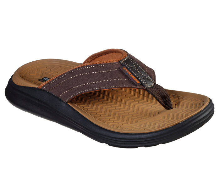Skechers 204071/CHOC Chocolate Mens Casual Comfort Toe Post Sandals