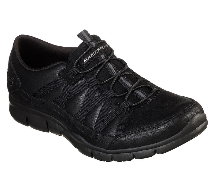 Skechers 23356/BBK Black Womens Casual Comfort Elasticated Sporty Trainers