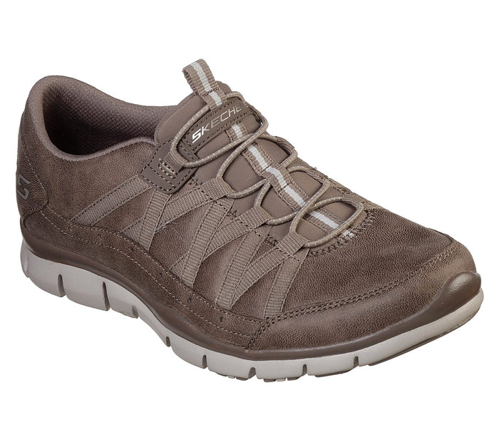 Skechers 23356/DKTP Dark Taupe Womens Casual Comfort Elasticated Sporty Trainers