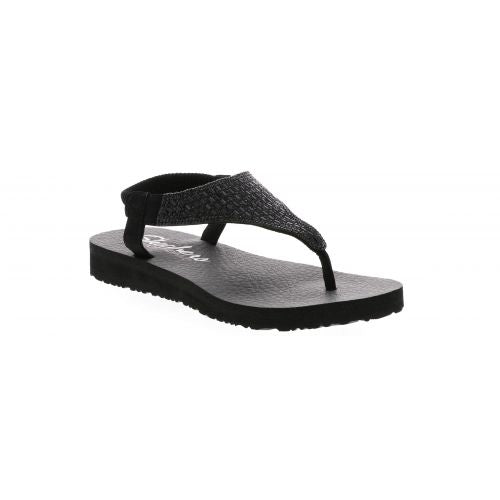 Skechers 31560 BBK Black Womens Casual Comfort Toe Post Sandals