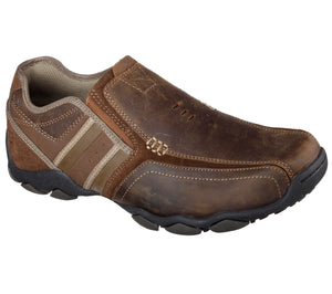Skechers 64275/CDB Brown Mens Casual Comfort Leather Slip On Shoes