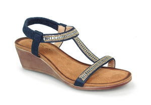 Lunar JLH 072 Tabitha Navy Women's Glitzy Wedge Sandals