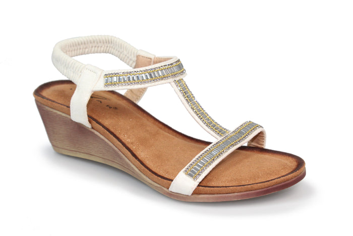 Lunar Tabitha White JLH072  Womens  Glitzy Wedge Sandals