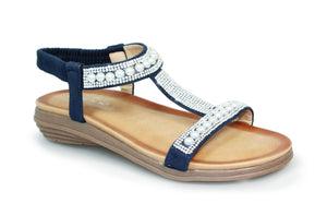 Lunar JLH078 Tancy Blue Womens Casual Comfort Pearl Glitz Low Wedge Sandals