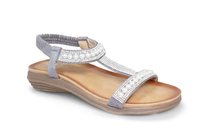 Lunar Tancy Grey JLH078 Womens Gemstone and Pearl Glitz Low Wedge Sandals