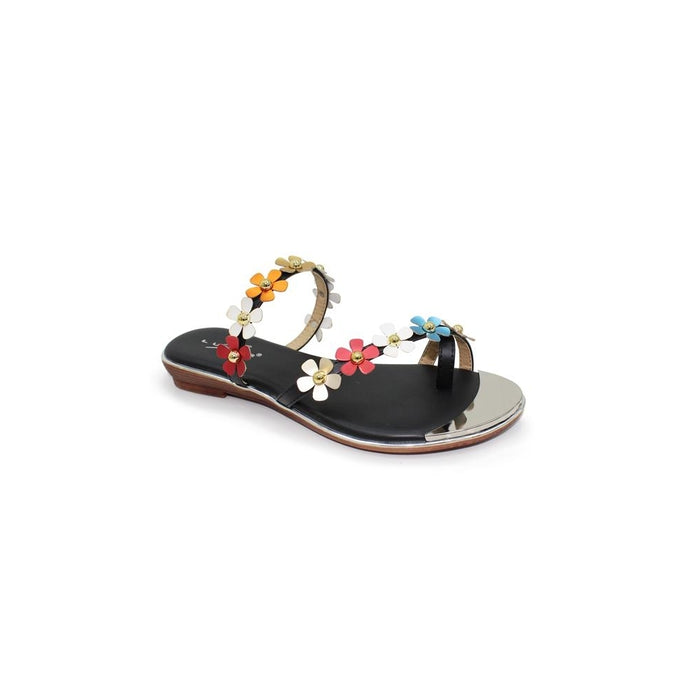 Lunar JLH 089 Tassia Black Women's Multicoloured Flowers Slip On Sandals