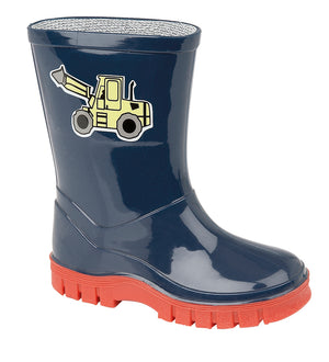 Stormwells W204C 'Puddle' Navy Digger Kids Wellingtons