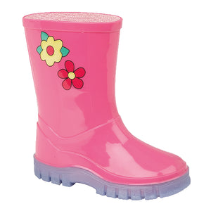 Stormwells W204PK 'Puddle' Pink Flower Kids Wellingtons