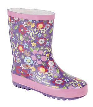 Stormwells W206M Purple Floral Kids Wellingtons