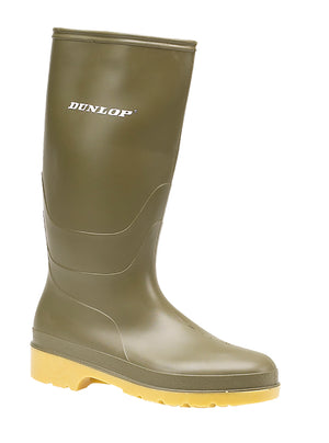 Dunlop W028E Dull Green Kids PVC Wellingtons