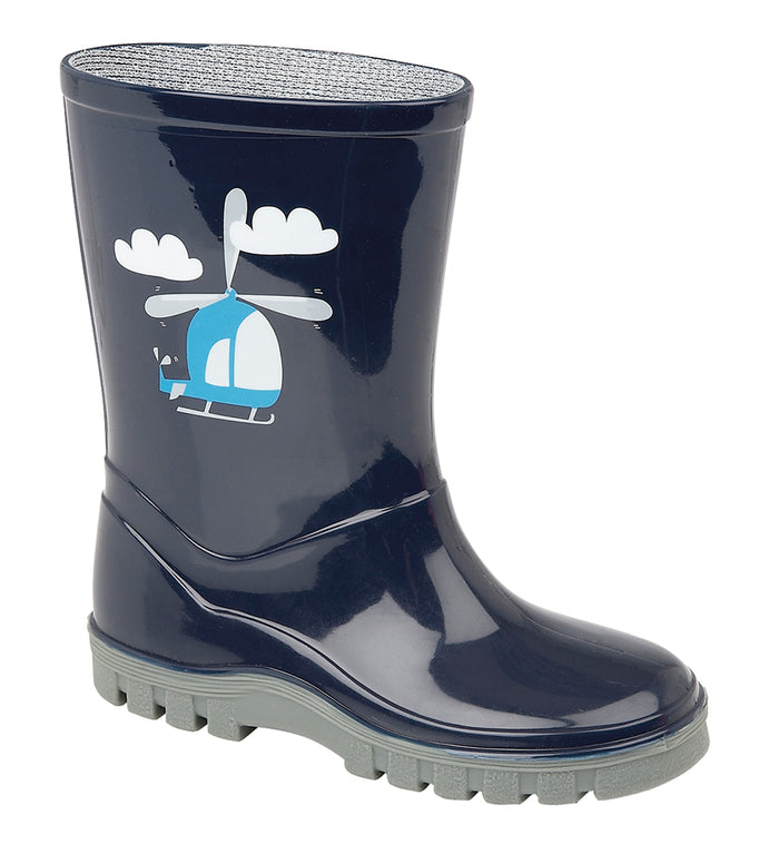 Stormwells W398CF Navy 'Helicopter' Kids Wellingtons