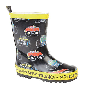 Stormwells W405A 'Monster Trucks' Black/Yellow Kids Wellingtons