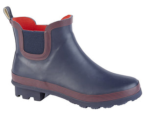 Womens W407C Navy and Red Waterproof Casual Comfort Short Wellies