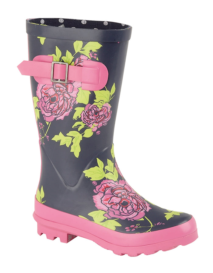 Woodland W412C Navy Floral Kids Medium High Wellingtons