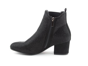 Heavenly Feet Wave 2 Black Diamante Womens Comfort Stylish Ankle Boots