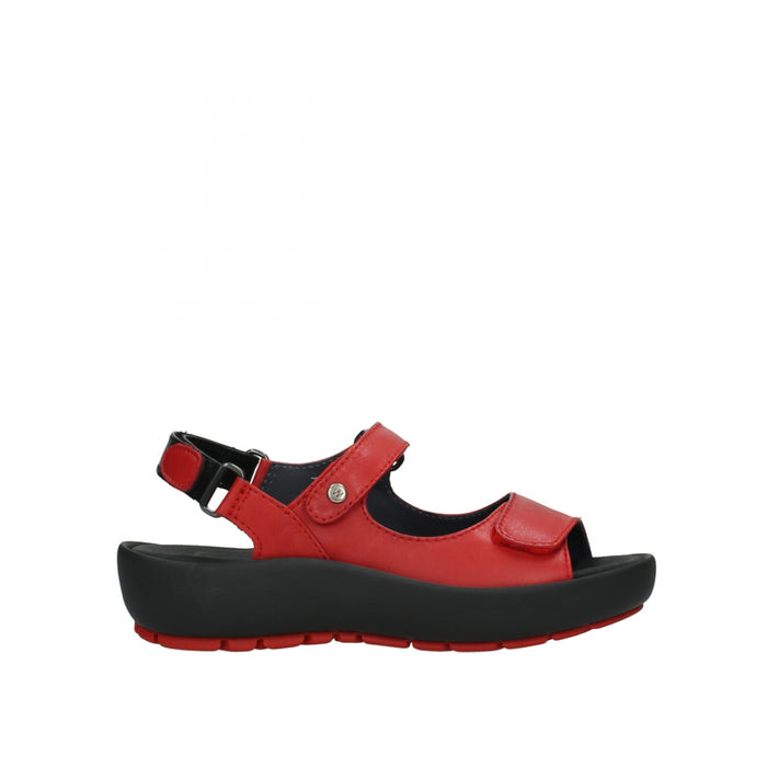 Wolky Rio Velvet Leather Red Womens Casual Walking Sandals
