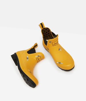 Joules Wellibob Yellow Bees Womens Casual Comfort Short Wellingtons