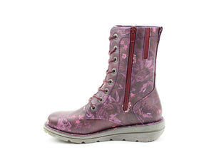 Heavenly Feet Martina2 Purple Floral Womens Casual Comfort Funky Calf Boots