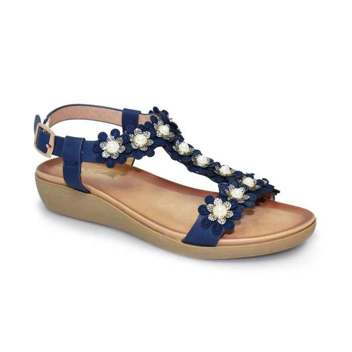 Lunar JLH 977 Bijou Blue Women's Floral and Pearl Detail Sandals