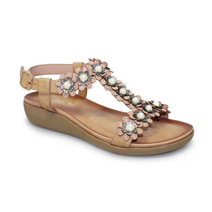 Lunar Bijou Beige Womens Floral and Pearl Detail Sandals