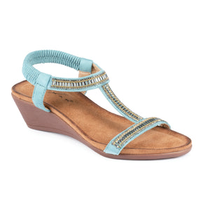 Lunar Tabitha JLH072 Turquoise Womens Casual Comfort Wedge Sandals