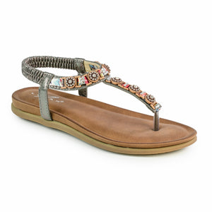 Lunar JLH236 Brock Pewter Womens Comfortable Summer Toe Post Sandals