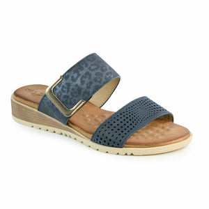 Lunar JLH240 Cassie Blue Womens Slip On Stylish Padded Summer Sandals