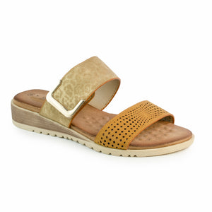 Lunar JLH240 Cassie Tan Womens Slip On Stylish Padded Summer Sandals