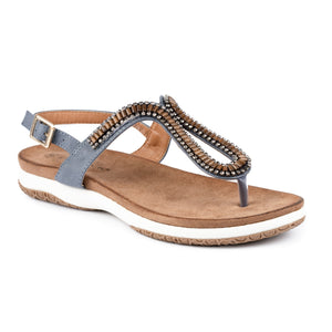 Lunar JLH268 Pascal Blue Womens Comfortable Summer Toe Post Sandals
