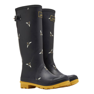 Joules Welly Print Black Bees Womens Casual Comfort Full Length Wellies
