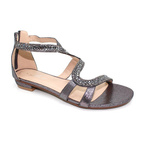 Lunar JLH 084 Arabia Pewter Womens Diamante Glitzy Gladiator Style Sandals