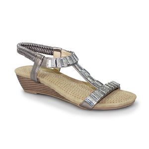 Lunar JLH877 Reynolds Pewter Womens Gem and Rhinestone Wedge Sandals