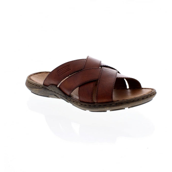 Rieker 22098-24 Brown Men's Casual Leather Slip On Sandals