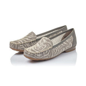 Rieker 40086-42 Grey Womens Casual Comfort Leather Loafers