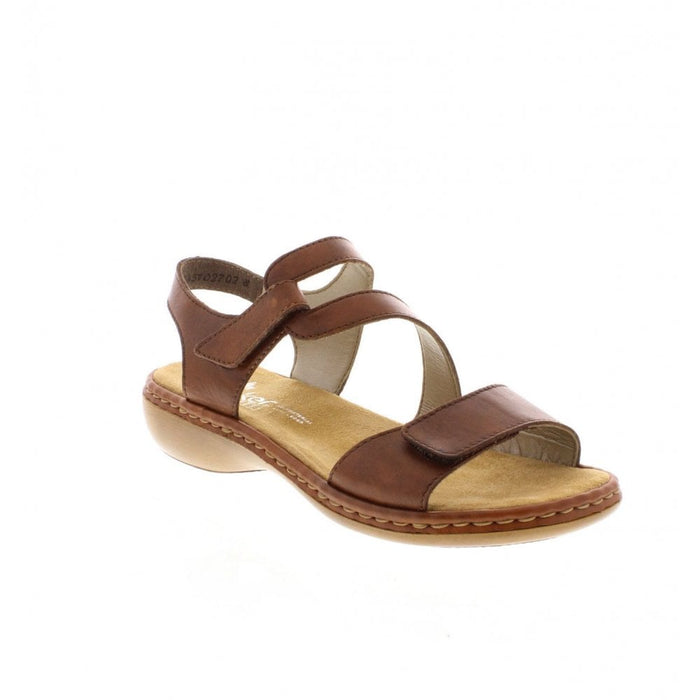Rieker 659C7-24 Brown Women's Leather Casual Touch Fastening Sling Back Sandals
