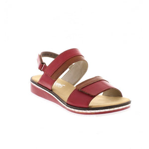 Rieker V36B9-33 Red Womens Casual Comfort Leather Sling Back Sandals
