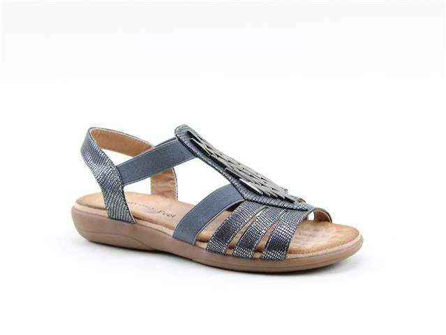Heavenly Feet Agneta Black Women's Casual Stylish Metal Trim Upper Sandals