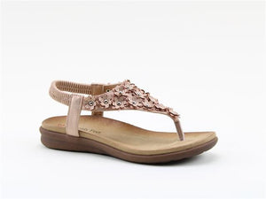 Heavenly Feet Anna Rose Gold Women's Casual Floral Applique Detail Toe Post Sand