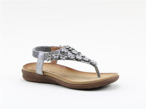 Heavenly Feet Anna Silver Women's Casual Floral Detail Toe Post Sandals