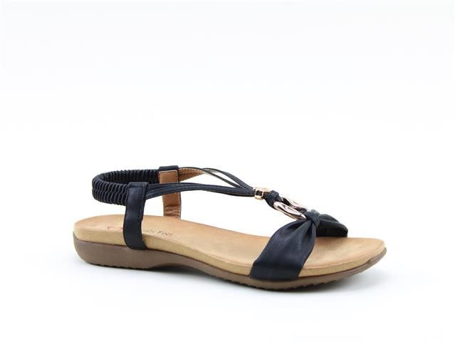Heavenly Feet Campari Black Women's Casual Lightweight Open Toe Jewel Sandals