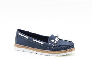 Heavenly Feet Collett Navy Women's Lace Design Lightweight Moccasin Style Shoes