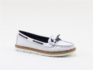 Heavenly Feet Collett White Women's Lace Design Lightweight Moccasin Style Shoes