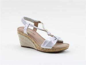 Heavenly Feet Eleanor White/Silver Women's Stylish Wedge Lightweight Sandals