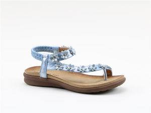 Heavenly Feet Esme Blue Women's Casual Toe Post Floral Detail Sandals