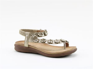 Heavenly Feet Esme Gold Women's Casual Toe Post Floral Detail Sandals