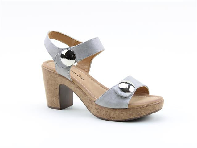 Heavenly Feet Sadie Grey Womens Stylish Dressy Heeled Sandals