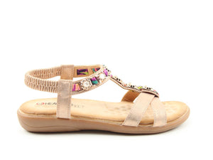 Heavenly Feet Amber Gold Womens Casual Comfort Sandals