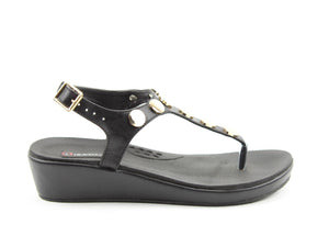 Heavenly Feet Perry Black Womens Casual Comfort Toe Post Sandals