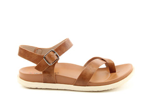 Heavenly Feet River Tan Womens Casual Comfort Buckled Slingback Sandals